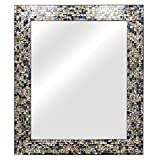 Cheap Multi-Colored & Silver, Luxe Mosaic Glass Framed Wall Mirror, Decorative Embossed Mosaic Rectangular Vanity Mirror/Accent Mirror (30″ X 24″)