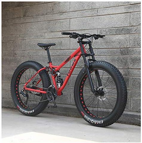 NENGGE 26 Pulgadas Bicicleta Montaña, Adulto Niña Muchachos Full Suspension Bicicleta, Neumático Gordo Bicicleta BTT,Rojo,21 Speed: Amazon.es: Hogar