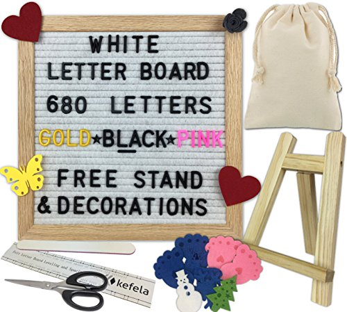 White Felt Letter Board 10x10 - Stand, Decorations, Bag, Scissors, File, Guide - Vintage Oak Frame & 680 Changeable Black Gold Pink Letters - for Announcements, Gift, Photo Prop, Quotes, Toy, etc. by Kefela