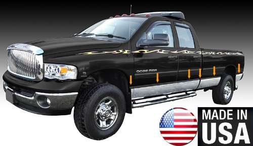 Made in USA! Works with 2002-2008 Dodge Ram Quad Cab Long Bed Rocker Panel Chrome Stainless Steel Body Side Moulding Molding Trim Cover 8