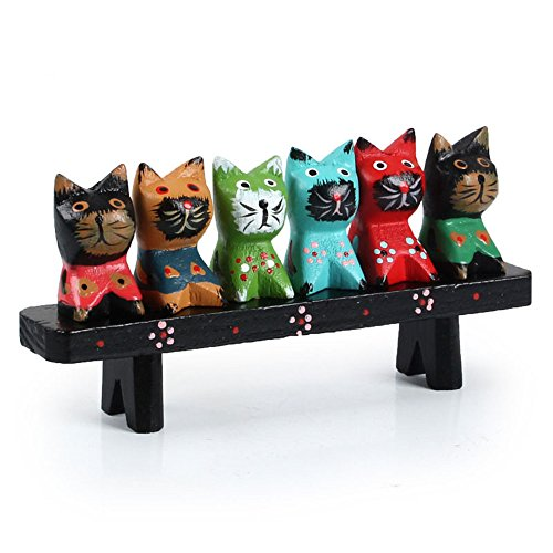 YGMONER Wooden Cat Figurine Set Decorations