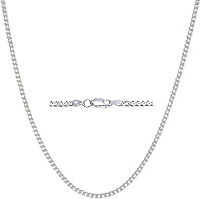 Silver Chain Curb Chain 1,7 mm 40 cm Solid 925 Sterling Silver High Quality Neck