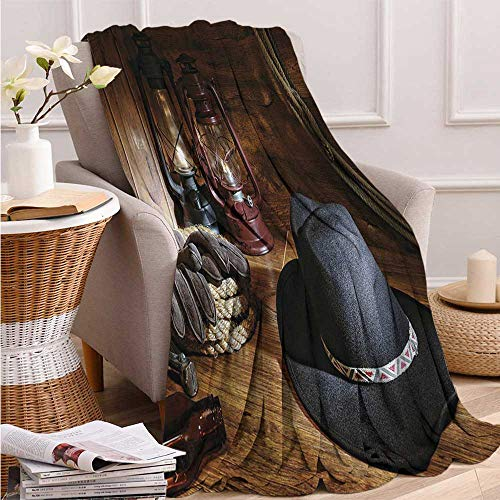 Cowboy Equipment Rodeo - Western, Throw Blanket Teen Girl, American Rodeo Equipment with Cowboy Felt Hat Ranching Tools Lanterns Photo, Soft Throw Blanket, 60x50 Inch Black and Brown