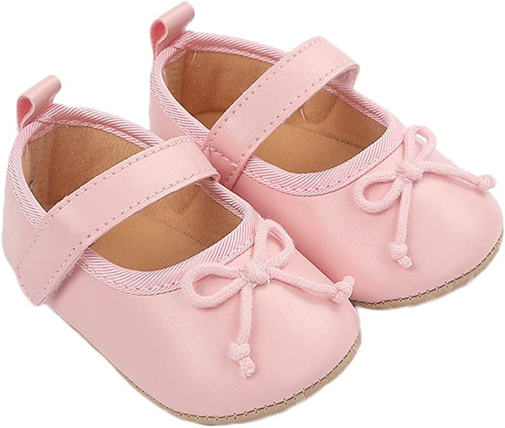 Baby Girls Mary Jane Flats Bowknot Anti-Slip Soft Sole Toddler First Walkers Princess Dress Shoes, Pink 6-12 Months
