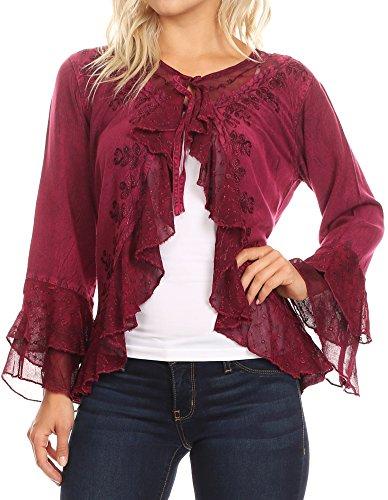 Cardigan Sleeve Short Ruffle (Sakkas 1669 - Jimena Womens Ruffle 3/4 Sleeve Open Front Cropped Cardigan Top Lace - Fuchsia - M)