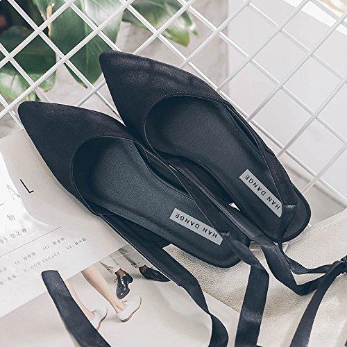 GAOLIM Sandalias De Verano Correa Femenina Solo Zapatos Baotou Punta Plana Hadas Zapatos Zapatos De Ballet Negro