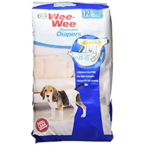 Wee-Wee Products Disposable Dog Diapers (12 Pack), Medium