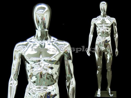 Chrome Male Mannequin - Full Body Chrome Male Mannequin w/Removable Head - Base Included - Mannequin Male Full Body
