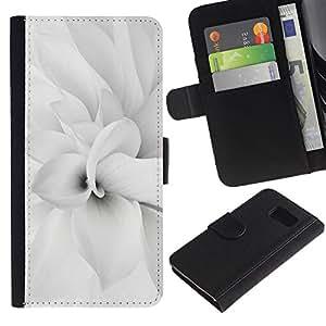 KingStore / Leather Etui en cuir / Samsung Galaxy S6 / Floral blanca flor del pétalo minimalista Primavera