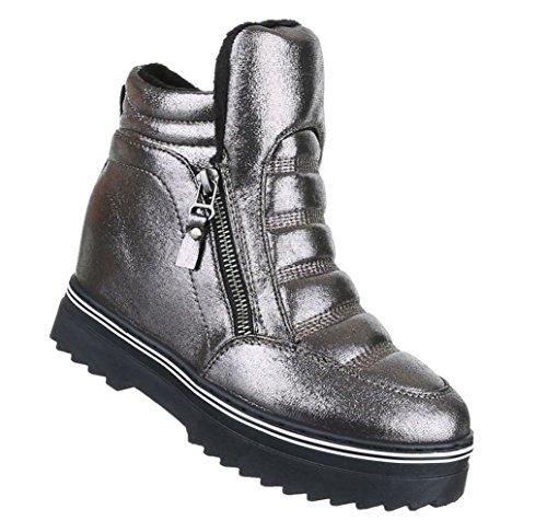 Damen Freizeitschuhe Schuhe Keilabsatz Stiefelette Wedges Sneaker Schwarz  Grau 36 37 38 39 40 41 - associate-degree.de bcac589dd4