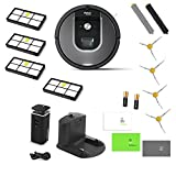 iRobot Roomba 960 Robotic Vacuum Cleaner With 1 Dual Mode Virtual Wall Barrier + 3 Extra Side Brushes + 4 Extra HEPA Filters + 2 Extra Extractor Rollers & More! (Grey 960 Vacuum & Replenishment Kit)