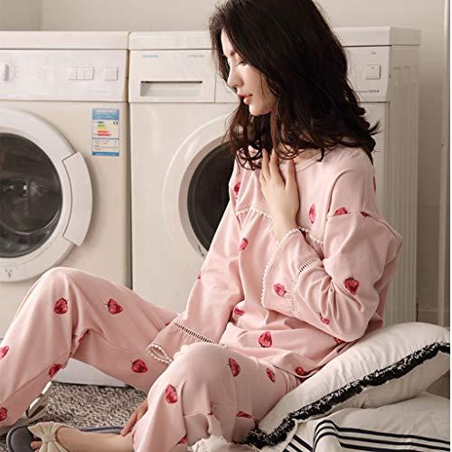 Mujer Ropa Algodón color Rosa Conjunto Dormir De Casa Linda Pink Moda Deportiva Size Pijamas Larga Xxl Suelta Manga Pink 0w65t