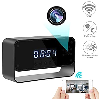 RZATU Hidden Camera WiFi Spy Camera Alarm Clock HD 1080P Wireless Security Cam for Home Nanny Cameras Starlight Night Vision Remote View Smart Snap Camera from GZXMG