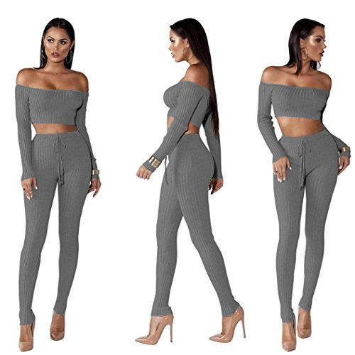 Jushye Hot Sale!!! Women's Tracksuit, Ladies Off Shoulder Fashion Split 2 Piece Set Casual Bodycon Casual Outfit Sportswear (Gray, S) ()