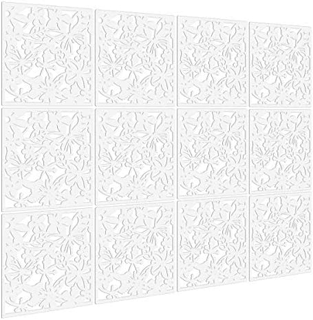 Kernorv DIY Hanging Room Divider Made of Environmentally PVC, 12 PCS Partitions Panels Screen for Decorating Bedding, Dining, Study and Sitting-Room, Hotel, Bar and Office. 12, White