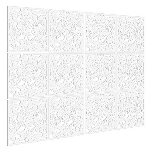 Kernorv DIY Room Divider Screens Made of Environmentally PVC, Simple and Modern Hanging Panel Screen for Decorating Bedding, Dining, Study and Sitting-Room, Hotel, Bar and School - White (12 PCS )
