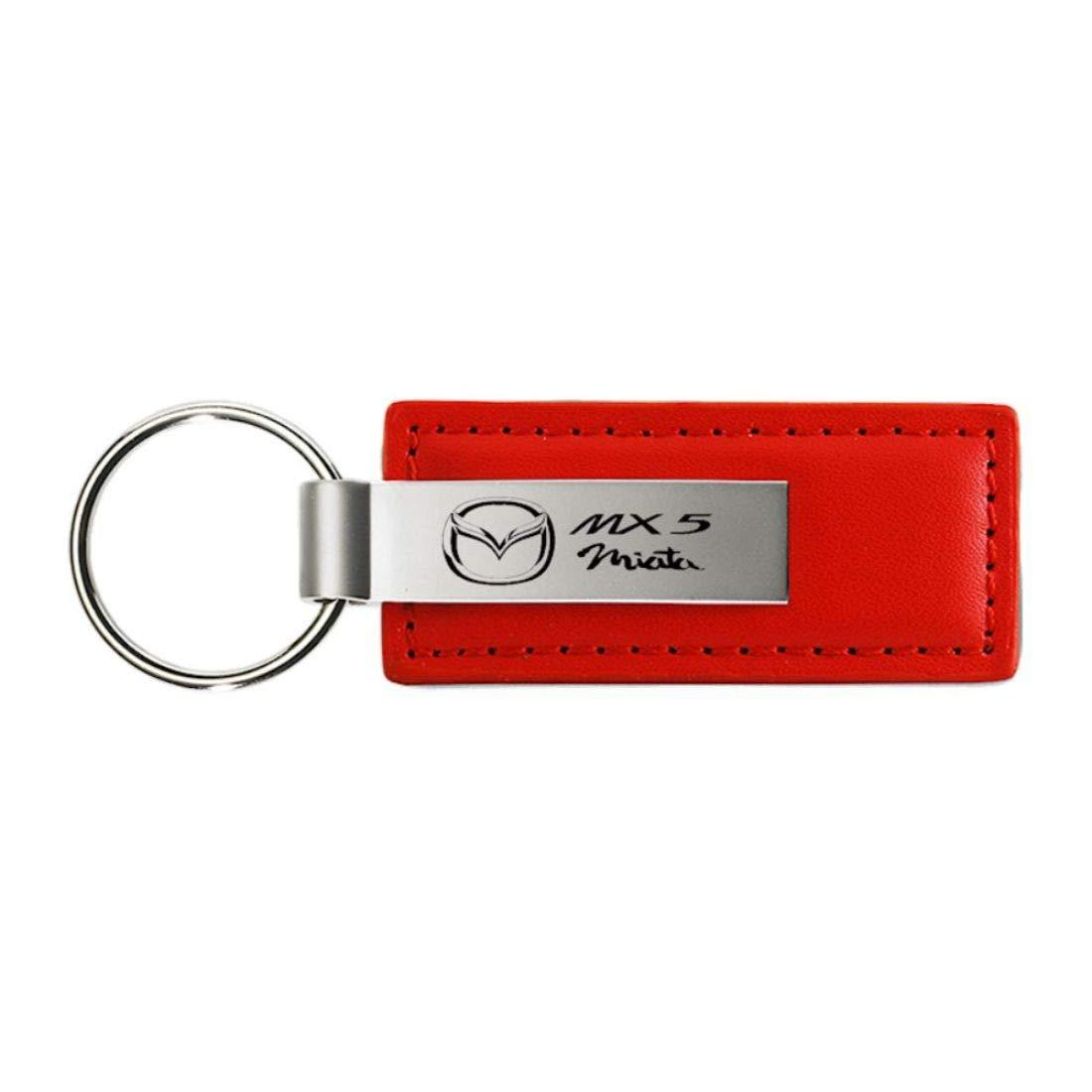 DanteGTS Mazda Miata MX5/Llavero Rojo de Piel aut/éntica Logotipo Clave Cadena Clave Anillo Llavero cord/ón 3,5/cm L x 2,54/cm W