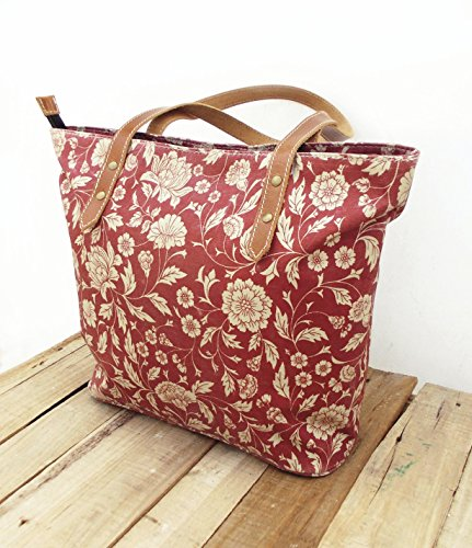 Borsa in cotone, laminato, Marsala stampa floreale, Kalamkari, folk, finiture in pelle, chiusura zip, Everyday bag.