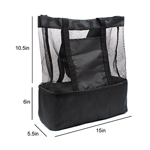 Mesh Beach Bag with Cooler Insulated Lightweight and Foldable Picnic Zipper Tote Bags for Beach Swimming Pool Camping (Black) by Buruis (Image #7)