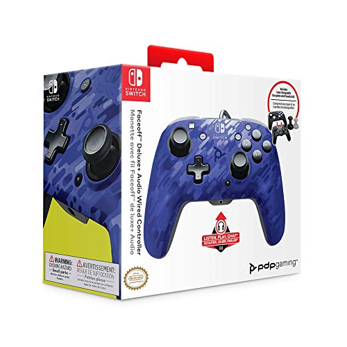 PDP Gaming Faceoff Deluxe + Audio Wired Controller Faceplate: Blue Camo - Nintendo Switch