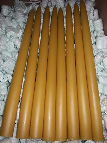8 Organic Beeswax Taper Candles 12'' Tall X 7/8 Thick