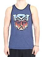 Transformers Vintage Distressed Autobots Logo Heather Navy Tank Top