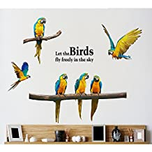 Macaw Parrot Bird Wall Sticker Decal Home Decor PVC Murals Wallpaper House Art Picture Living Room Adult Senior Teen Kids Baby Bedroom Decoration