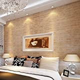 3D Modern Wallpaper, Modern Faux Brick Stone Textured Wallpaper,3D Brick Blocks Vintage Wallpaper for Home Design and Room Decoration (Type 1