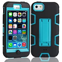 5C Case, iPhone 5C Case Cover,Lantier Full Body Hybrid Impact Shockproof Defender Case Cover With Kickstand for Apple iPhone 5C Black-Blue