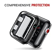 Smiling Apple Watch 3 Case With Built in TPU Screen Protector All-around Protective Case High Definition Clear Ultra-Thin Cover for Apple iwatch Series 3 and Series 2 (42mm black)
