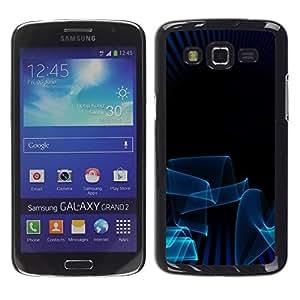 TopCaseStore / la caja del caucho duro de la cubierta de protección de la piel - Blue Lines 3D Art Dark Minimalist - Samsung Galaxy Grand 2 SM-G7102 SM-G7105