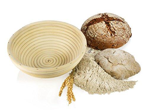 Gärkörbchen aus Rattan Ø21cm für 500-1000g Teig, Peddigrohr Rund Gärkorb Gärkörbe Brotteig Korb