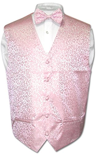 Antonio Ricci Men's Paisley Dress Vest BOW TIE PINK Color BowTie Set Size XLarge (Mens Pink Dress Vest)