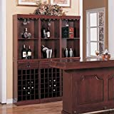 Coaster Lambert Traditional Wine Wall Bar Unit in Cherry (Each unit sold separately - 3 units pictured).
