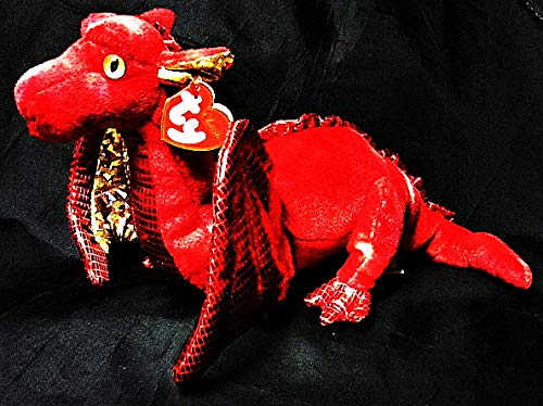 Ty Vintage 2007 Fossils The Dragon - Red with Metallic Gold Accents and White Tie Dye-17 L Classics Plush Beanie Baby-Rare