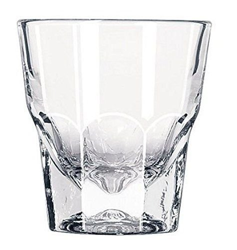 Set of 2 Libbey 4.5 oz. Gibraltar Rocks Glasses, DuraTuff treated, Made in USA, 5-piece Bundle includes Liquor Pourer and Two Exclusive Starlines Coasters