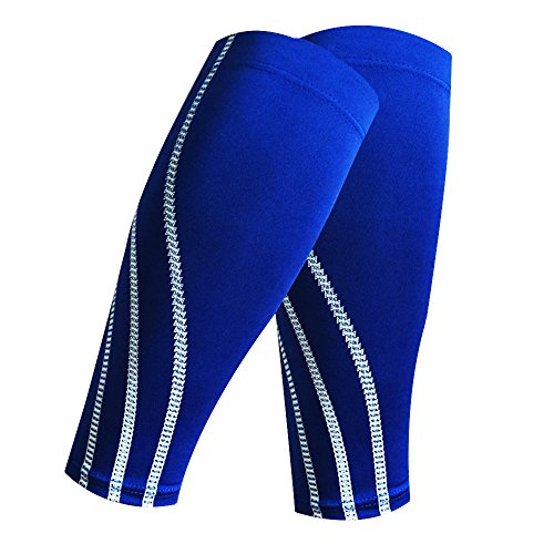 Miss-Moly Sports Leg Support Stretch Sleeve Compression Socks Running Exercise (Signle) (One Pair-Blue, XL)