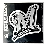 """Stockdale Milwaukee Brewers 6"""" Metallic MAGNET Silver Style Die Cut Auto Home Baseball"""