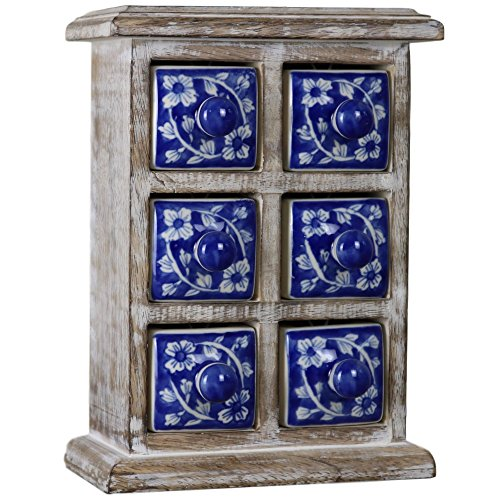 (Ferus & Fivel 6 Drawer Mini Chest Ceramic Jewellery Jewelry Rustic Wood Wooden Blue White Box)