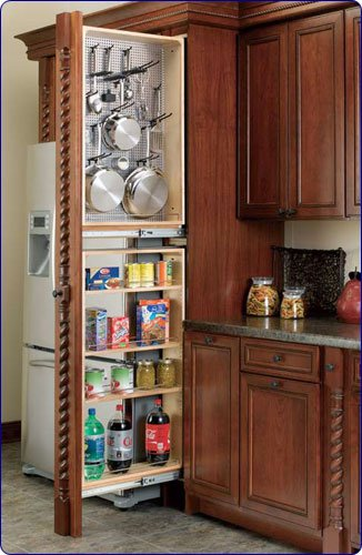 Rev-A-Shelf 434-TF39-6SS 39'' Tall Filler Organizer (left handed) - Wood/Stainless Steel-Natural