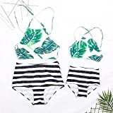 PatPat Family Swimwear Mommy and Me Matching Two Piece Palm Leaf Print Lace up Back Bikini Set with Sunflower Print