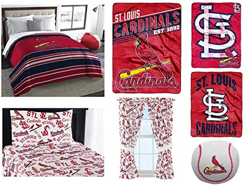 MLB St. Louis Cardinals 10pc Bedding Set: Includes (1) Twin/Full Comforter, (1) Twin Flat Sheet, (1) Twin Flat Sheet, (1) Pillowcase, (1) Blanket, (2) Throws, (1) Toss Pillow and (2) Curtain Panels