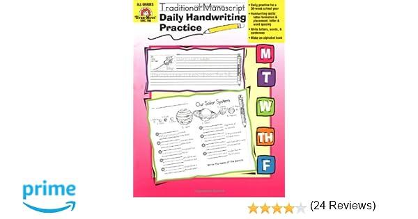 Daily Handwriting Practice :Traditional Manuscript: Evan Moor ...