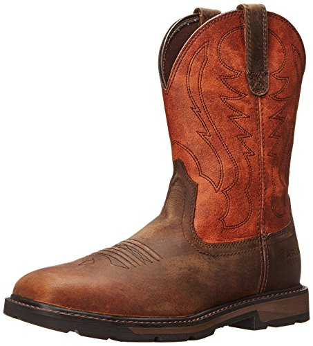 Ariat Men's Groundbreaker Wide Square Steel Toe Work Boot, Brown/Ember, 10.5 2E US
