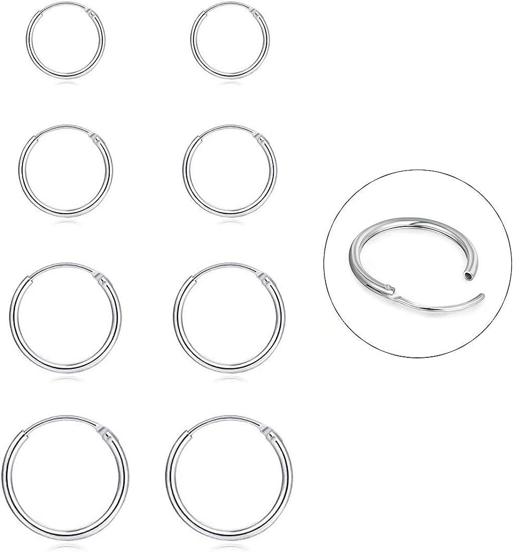 Silver Hoop Earrings- Cartilage Earring Small Hoop Earrings for Women Men Girls,4 Pairs of Hypoallergenic 925 Sterling Silver Tragus Earrings(8mm/10mm/12mm/14mm)