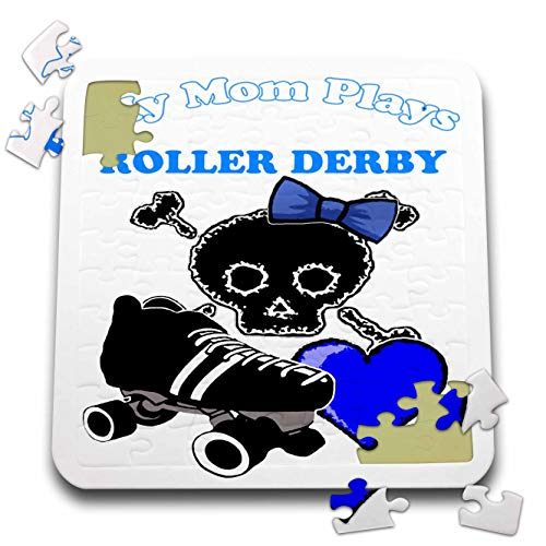 (BlakCircleGirl - Roller Derby - Mom Plays Derby - My mom plays roller derby with skull bow skates and more in blue - 10x10 Inch Puzzle (pzl_286899_2))