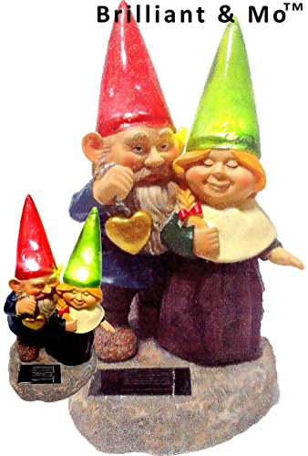 Loving Couple Garden Gnome holding hearts and flower Garden Solar Light (Solar Light Holding)