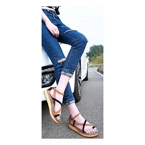 Femme Sandales Plate Lactes Couleur Jointif Mode Plateforme Poiture Grande Lanieres Simple Noir