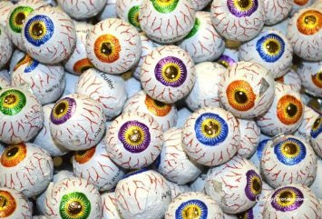 Chocolate Halloween Treats (3lbs 108 Pieces Individually Wrapped Creepy Peepers Chocolate Eyeballs Halloween Trick or Treat Eye Ball Candy Fudge Caramel Peanut Butter Filled Candies)