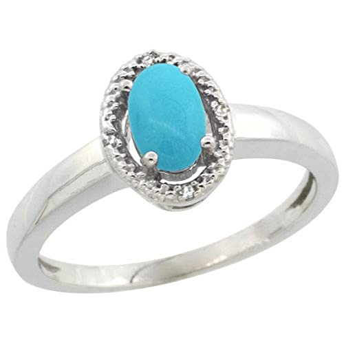 Sterling Silver Diamond Halo Sleeping Beauty Turquoise Ring Oval 6X4 mm, 3 8 inch wide, sizes 5-10
